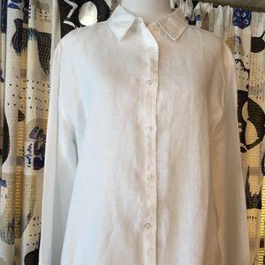 White Linen Blouse Oversized Boy Fit Shirt Sz L
